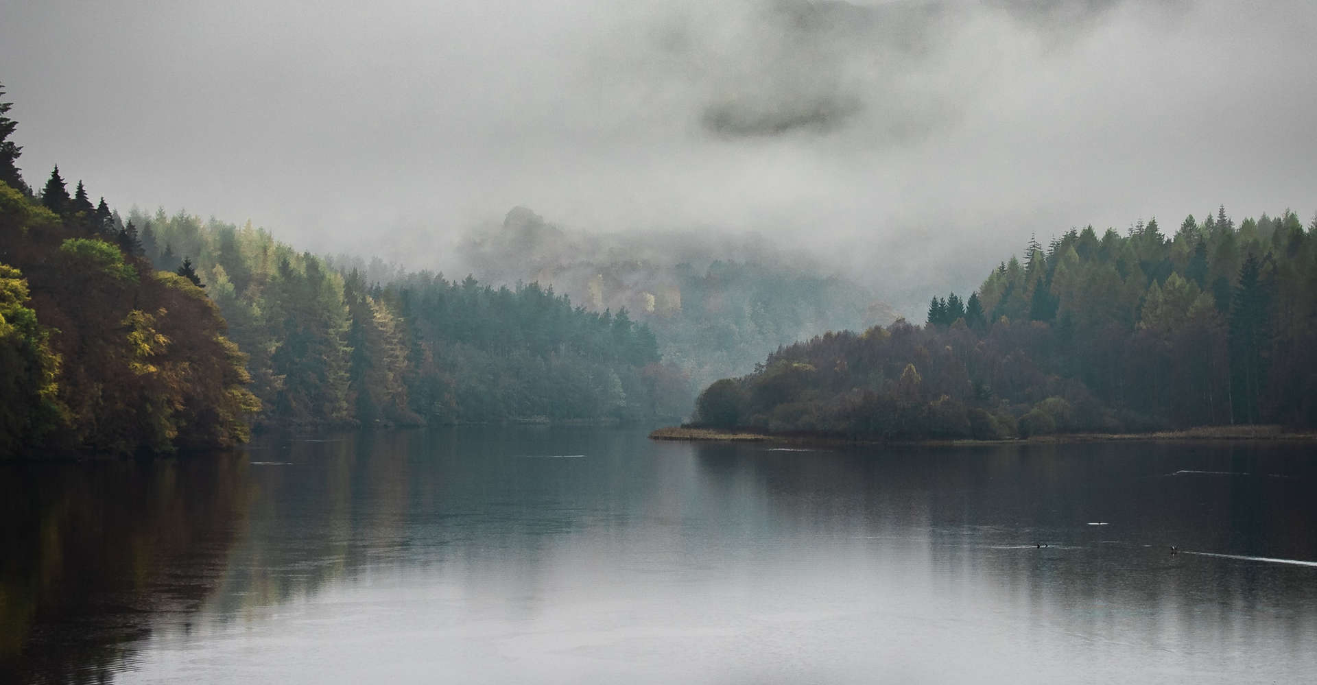 Misty Loch in Perthshire scotland with trees and calm water