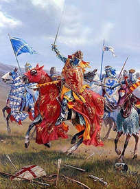 Battle of Bannockburn painting with robert the bruce on horseback