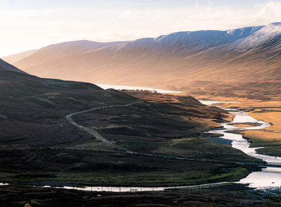Perthshire Scenery in scotland with mountains and river