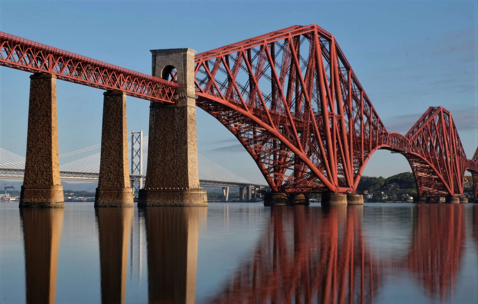 The Forth Bridge in scotland from south queensferry