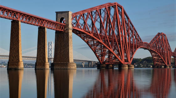 Forth Bridge from south queensferry with blue sky in scotland