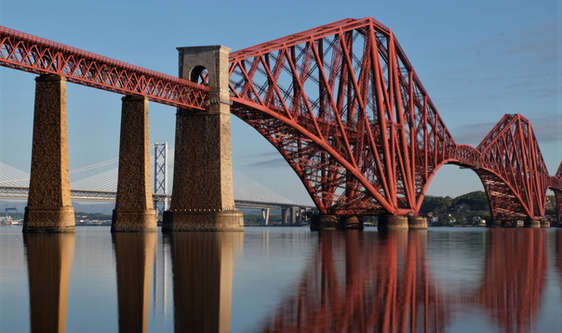 Forth Bridge in scotland seen from south queensferry
