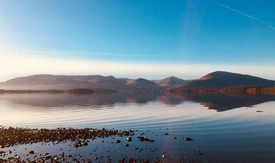 Loch lomond in scotland viewed from Millarochy Bay