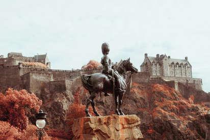 Edinburgh Castle and statue