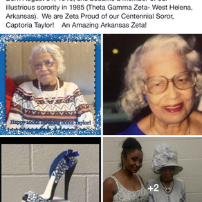 Happy 100th Birthday to Soror Captoria Taylor of Arkansas!