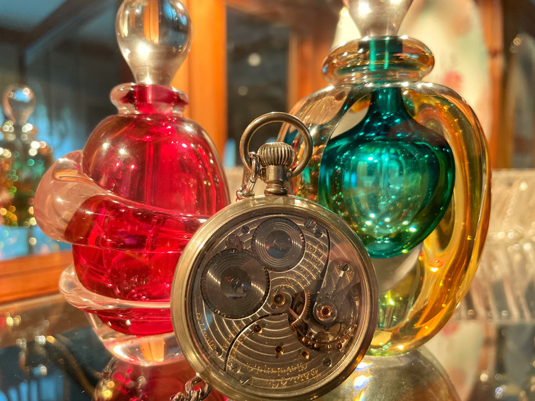 Glass and pocket watch