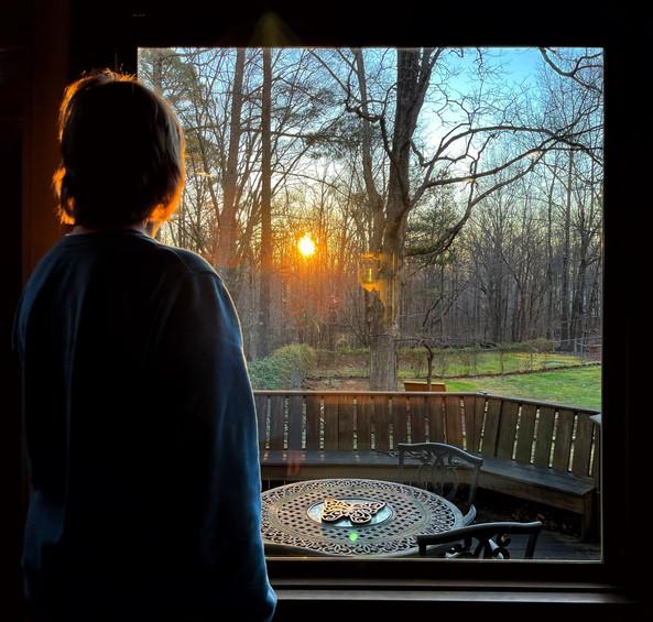 Sunrise through a window