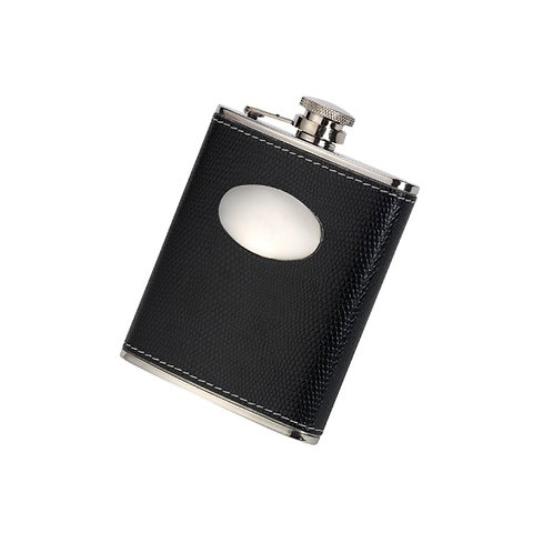 DAVID NICKERSON BLACK CROC LEATHER 6OZ HIP FLASK
