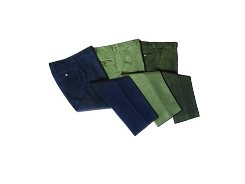 HOGGS OF FIFE OLIVE MONARCH MOLESKIN TROUSERS