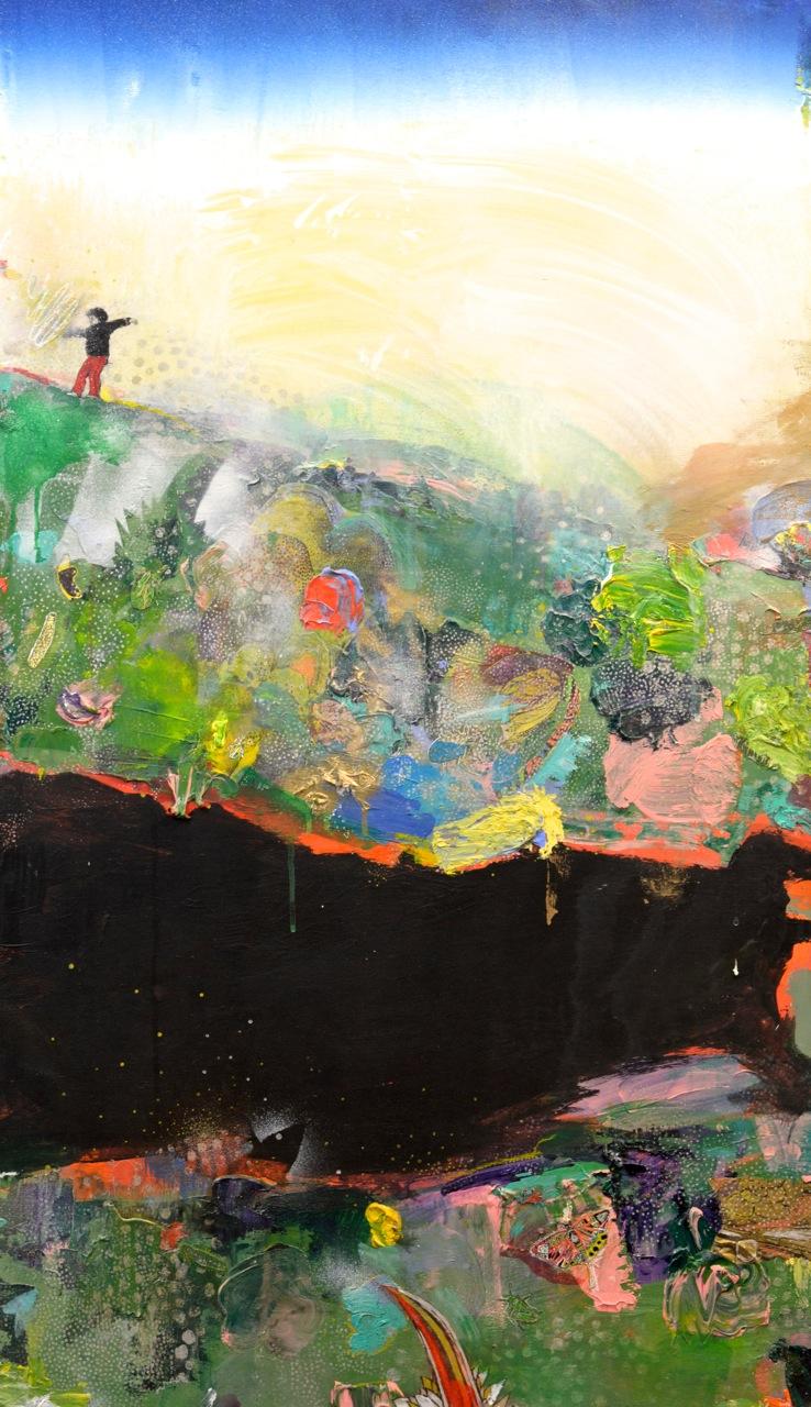 Mountain with Hokusai Sky and a Boy