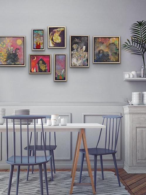 7 small original painting set
