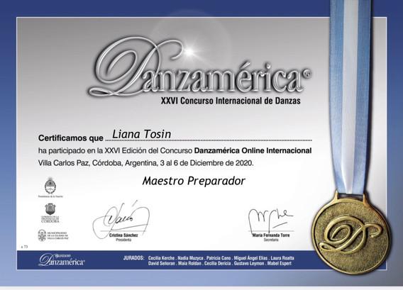 DANZAMÈRICA / LIVE 2020 / ARGENTINA          ( MAESTRO PREPARADOR )