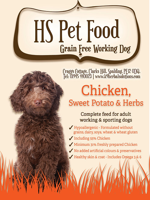 GRAIN FREE CHICKEN & HERB WORKING DOG 15 kg only £42.99 or bulk buy to save ££