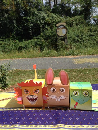 Lilly the lion, Recca the rabbit and Fifi the frog  (boxes)