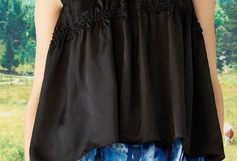 Hannah - Trimmed Lace Shibori Blouse