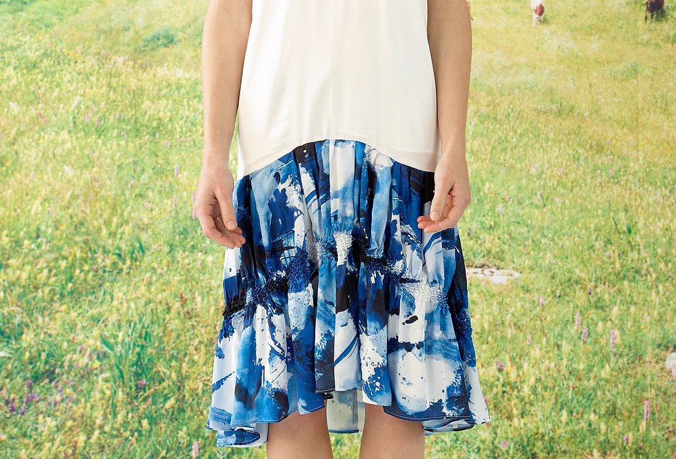 Emily - Abstract Art Print  French Sleeve Drop Waist  Shibori Dress
