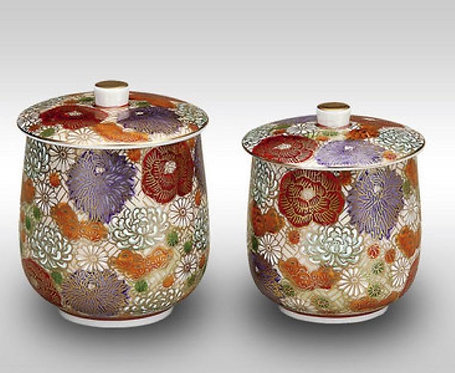 KUTANI WARE TEA CUP  SET  WITH LID - FLOWER