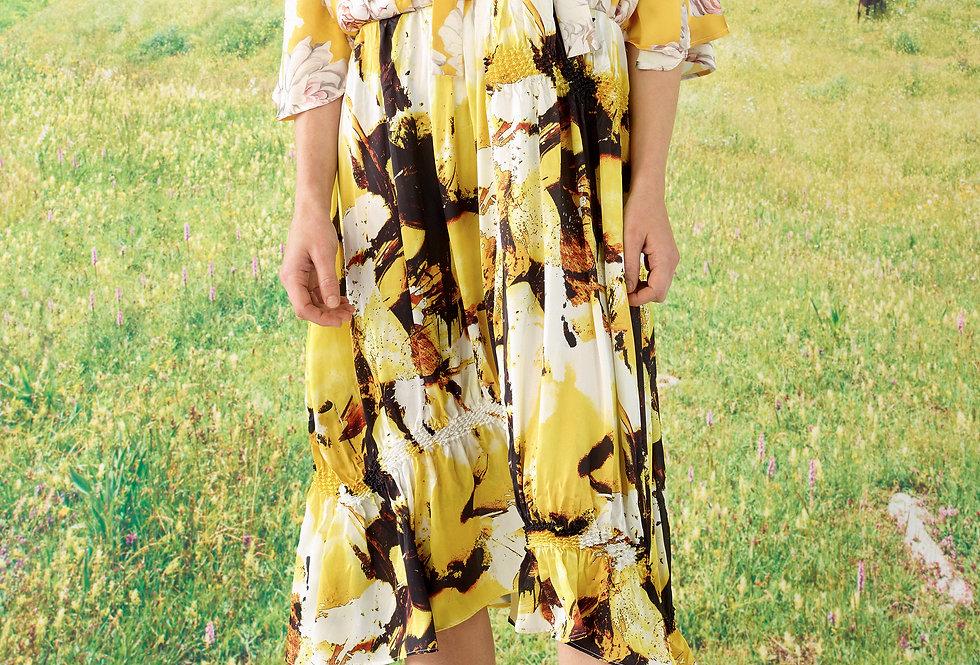 Sophia - Mix Print Tie Neck Shibori Dress