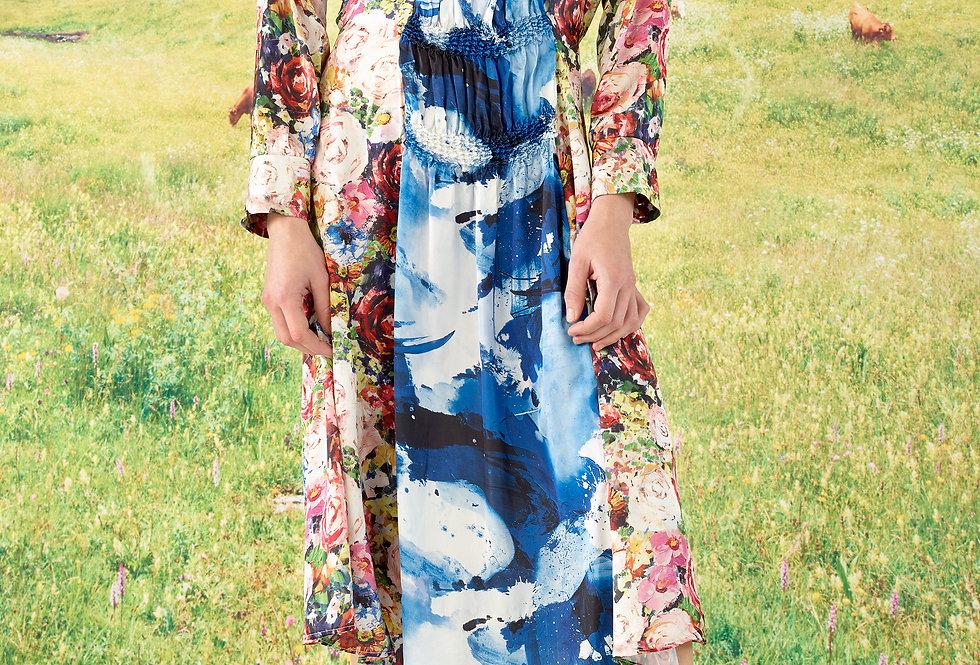 Ella - Mix Print Drop Shoulder Waisted Shibori Dress