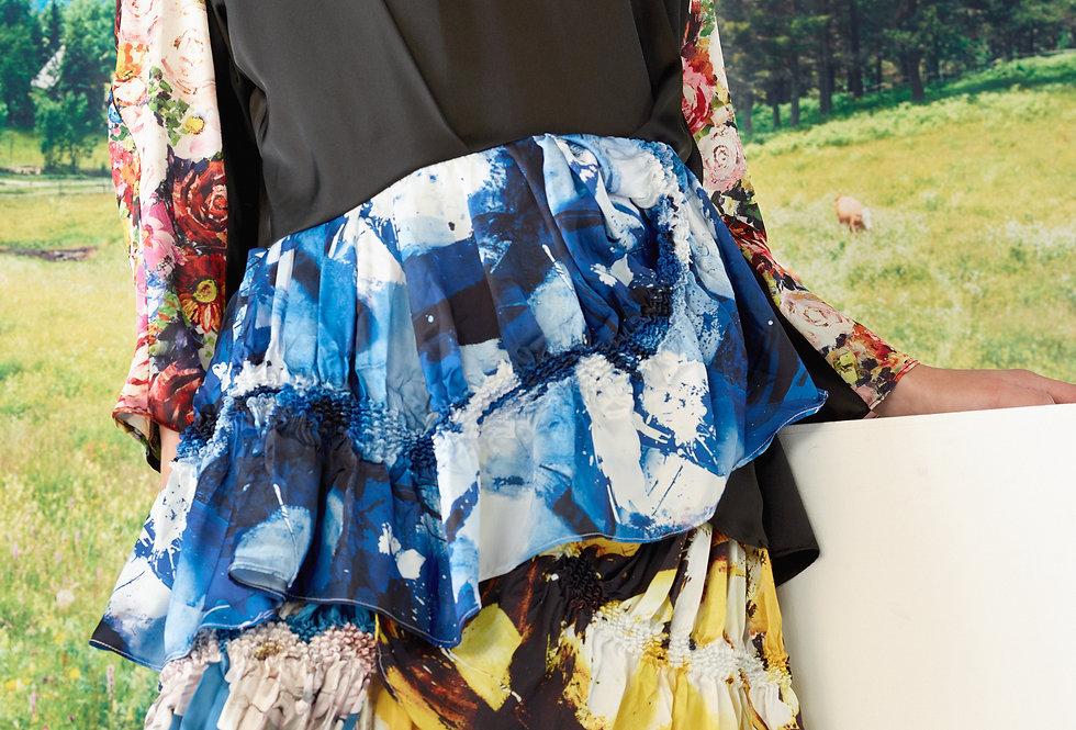 Olivia - Asymmetrical Multi Print Tiered Shibori Dress