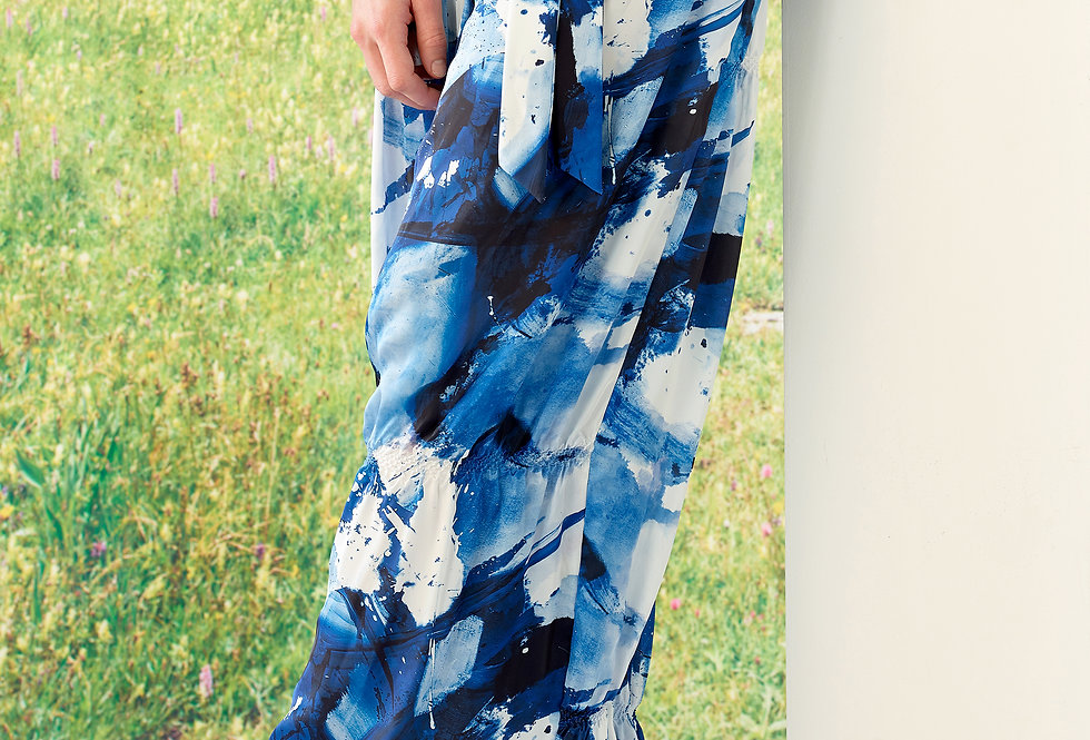 Scarlette - Abstract Art Print Belted High Waist Trousers