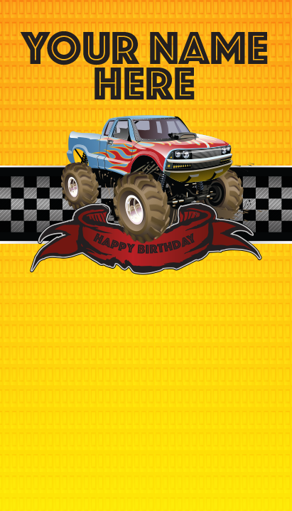 "Background and table topper - Monster truck 48""x84"""
