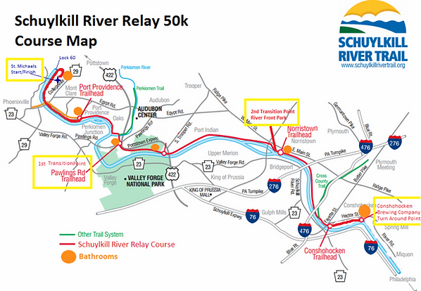 Schuylkill River Relay 50k Course Map.png
