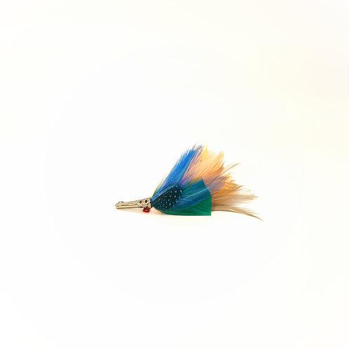 Broche CORAIL  plumes naturelles