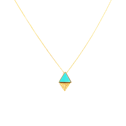 CollierDUO TRIANGLE diamant / turquoise