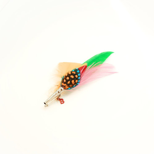 Broche PENCIL plumes naturelles multicolores