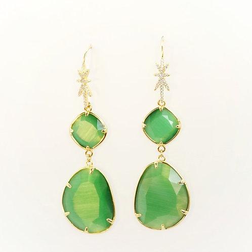 Boucles d'oreilles STAR vert