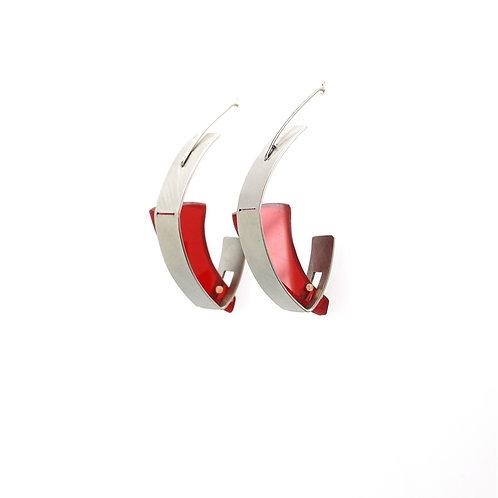 Boucles d'oreilles STEELING acier et plexiglass rouge
