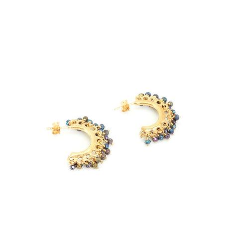 Boucles d'oreilles CREOLES /SPINELLE NOIRE