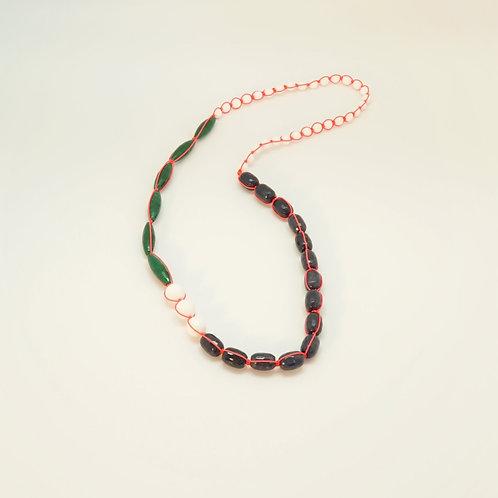 Sautoir perles de verre, fil de nylon