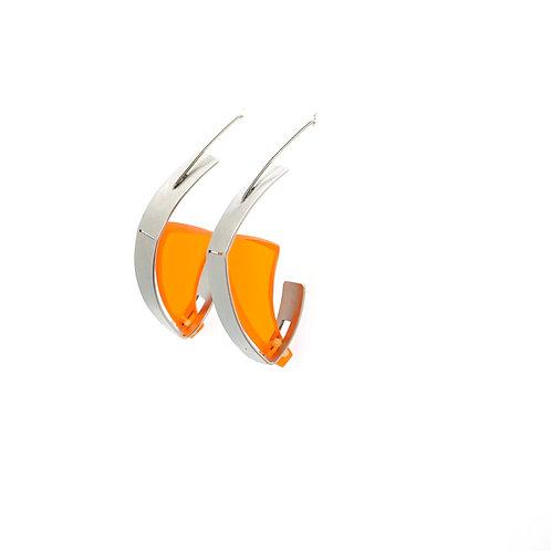 Boucles d'oreilles STEELING acier et plexiglass orange