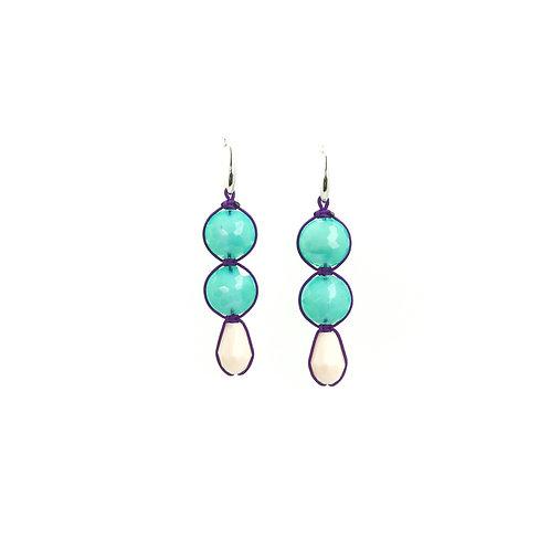 Boucles d'oreilles CRYSTAL  turquoise/blanc nacré