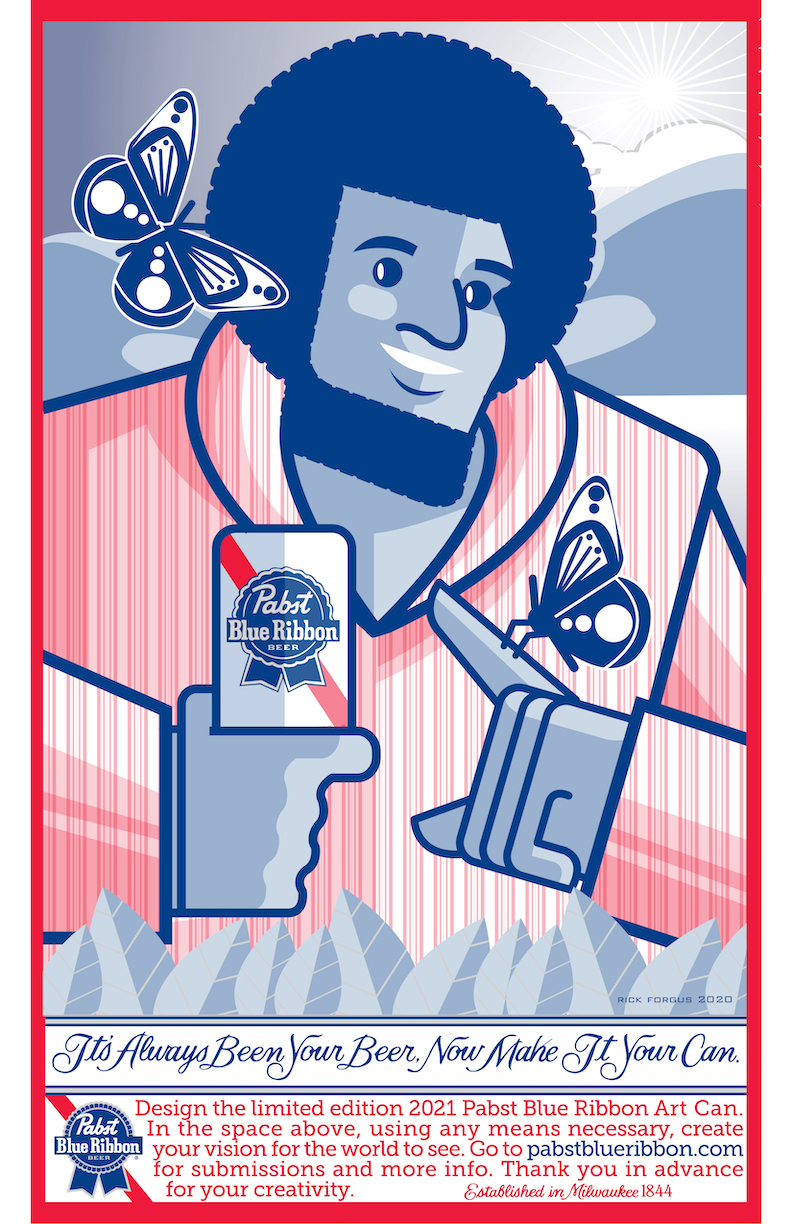 Pabst Blue Ribbon Can illustration