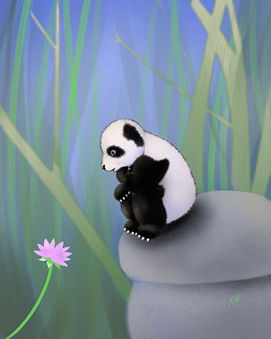 Panda considers lily.jpg