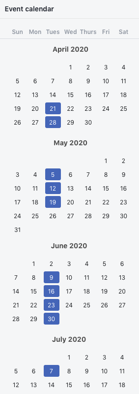 Term Dates Summer 2020