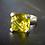Monsteraleaf レモンクォーツ 14mm クッションカット シルバー ボリューム リング 大粒 天然石ジュエリー