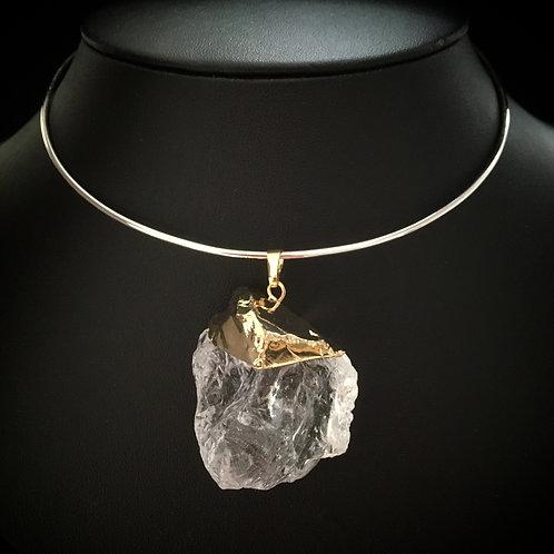 Monsteraleaf ラフロック クリスタル ネックリング ボリューム ネックレス 天然石ジュエリー