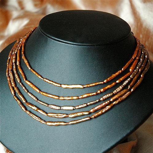 ケシパール スティック 5連 ネックレス ブラウン 天然石ジュエリー Monsteraleaf