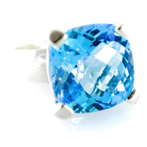 Monsteraleaf スイス ブルー トパーズ 14mm クッションカット リング 指輪 天然石ジュエリー
