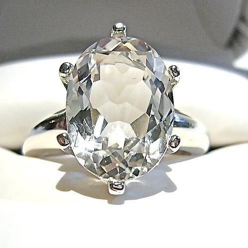 Monsteraleaf ホワイト トパーズ オーバル リング 14x10mm 指輪 天然石ジュエリー