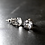Monsteraleaf クリスタル クォーツ スタッド ピアス 8mm ラウンド 天然石ジュエリー ファセット カット 立て爪 シルバー