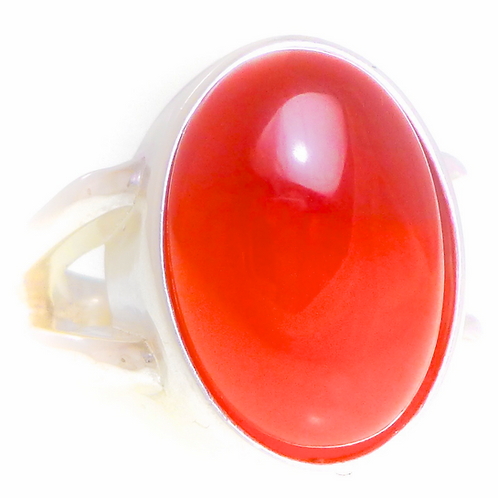 Monsteraleaf カーネリアン オーバル カボション シルバー ファッション リング 18x13mm 赤 大粒 天然石ジュエリー