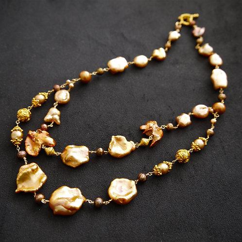ゴールド 淡水パール ケシパール オリエンタル ネックレス 天然石ジュエリー Monsteraleaf