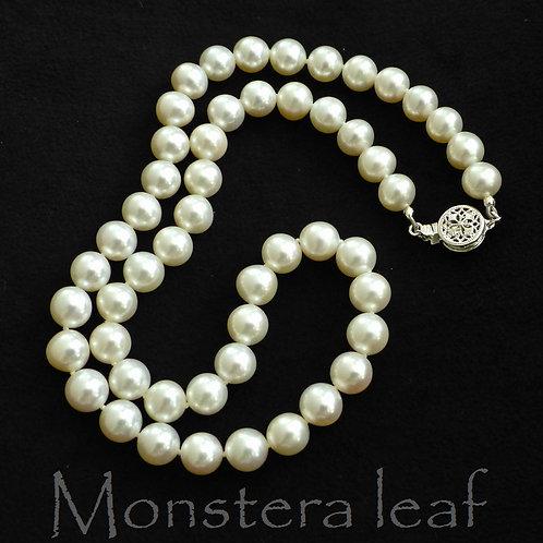 ホワイト 淡水パール 8mm ネックレス 天然石ジュエリー Monsteraleaf