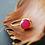 Monsteraleaf フーシャピンク カルセドニー スタッキング ファッション リング 8mm 14KGF 天然石ジュエリー 重ねづけ