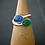 Monsteraleaf カイヤナイト ブルー グリーン オニキス デュアル ストーン シルバー リング コンビ サイズフリー オーバル カボション 天然石ジュエリー